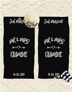gifts: Personalised Just Married Beach Towel !