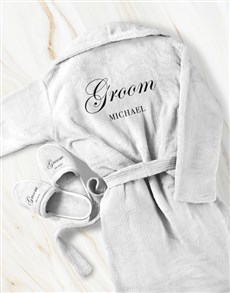 gifts: Personalised Cursive Groom Gown and Slipper Set!