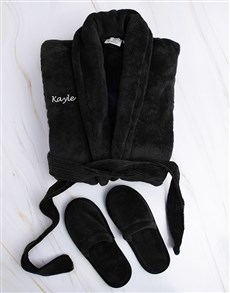 gifts: Personalised Black Fleece Gown and Slipper Set !