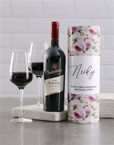 gifts: Personalised Peony Wine Tube!