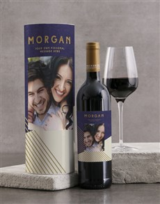 gifts: Personalised Modern Blue Geo Wine Tube!