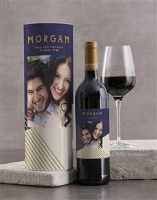 gifts: Personalised Modern Blue Geo Wine Tube!