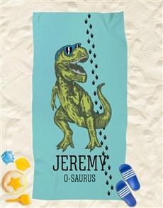gifts: Personalised T Rex Beach Towel!