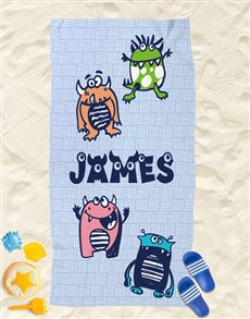 gifts: Personalised Little Monsters Beach Towel!