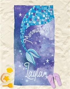 gifts: Personalised Magic Mermaid Beach Towel!