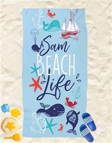 gifts: Personalised Nautical Beach Towel!