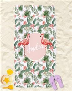 gifts: Personalised Flamingo Beach Towel!