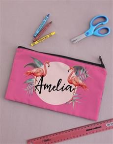 gifts: Personalised Flamingo Pencil Bag!