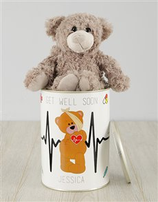 gifts: Personalised Get Well Teddy Tin!