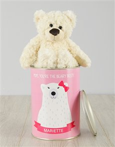 gifts: Personalised Beary Best Mom Teddy Tin!