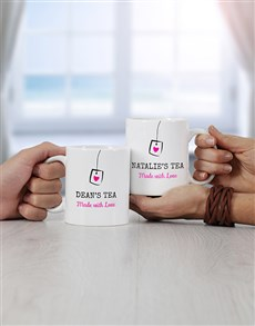 gifts: Personalised Couples Tea Mug Set!