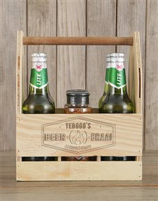 gifts: Personalised Braai and Castle Beer Caddy!