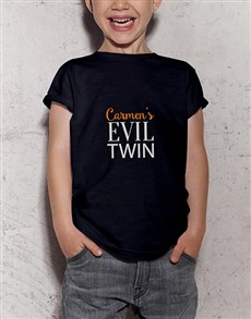 gifts: Personalised Evil Twin Kids Black T Shirt!