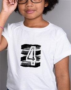 gifts: Personalised Number Kids White T Shirt!
