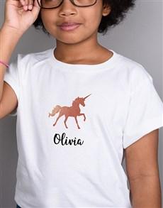 gifts: Personalised Glitter Unicorn Kids White T Shirt!