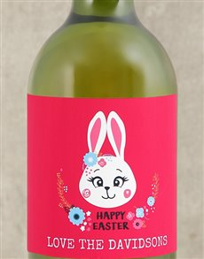 gifts: Personalised Bunny Flower Easter Wine!