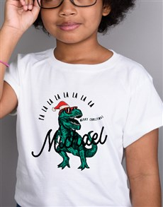 gifts: Personalised Christmas T Rex Kids T Shirt!