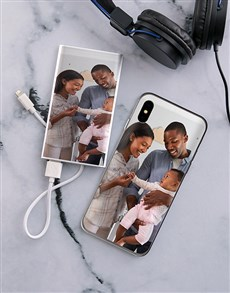 gifts: Personalised Photo Duo iPhone Cover and Powerbank!