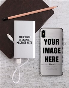 gifts: Personalised iPhone Cover and Powerbank Combo!