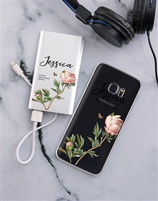 gifts: Personalised Floral Samsung Cover and Powerbank!