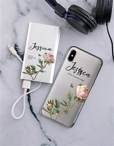 gifts: Personalised Floral iPhone Cover and Powerbank!