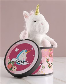 gifts: Personalised Unicorn Teddy And Chocolate Hat Box!