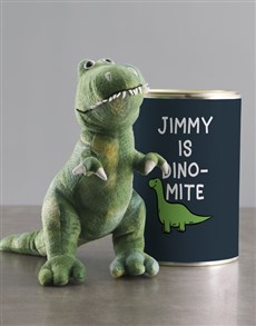 gifts: Personalised Dinosaur Teddy And Chocolate Tin!