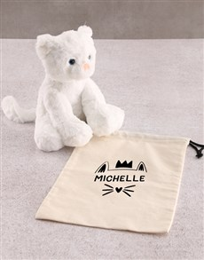 gifts: Personalised Cat Teddy And Drawstring Bag!