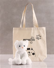 gifts: Personalised Cat Teddy And Tote Bag!