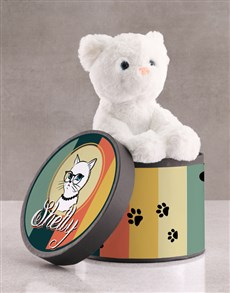 gifts: Personalised Cat Teddy In Hat Box!
