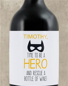 gifts: Personalised Be A Hero Wine!