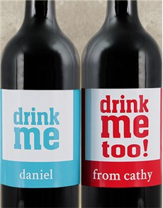 gifts: Personalised Drink Me Wine Duo!
