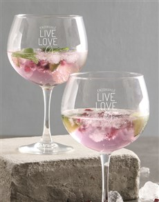 gifts: Personalised Live Love And Drink Gin Glass!
