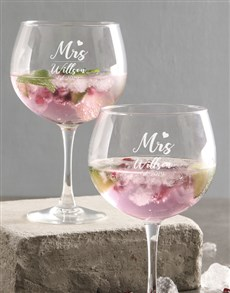 gifts: Personalised Mr And Mrs Gin Glass!