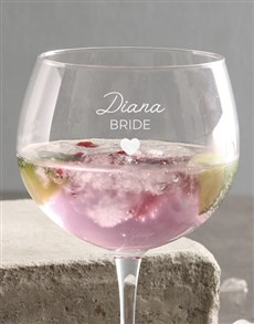 gifts: Personalised Bride Gin Glass!