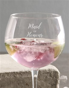 gifts: Personalised Maid Of Honour Gin Glass!