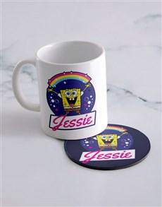 gifts: Personalised Rainbow Bubbles Mug And Coaster!