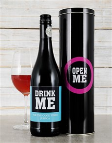 gifts: Personalised Drink Me Wine Tin!