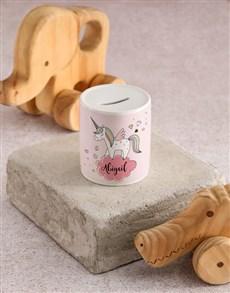 gifts: Personalised Pink Unicorn Kids Money Box!