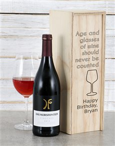 gifts: Personalised Age and Wine Crate!