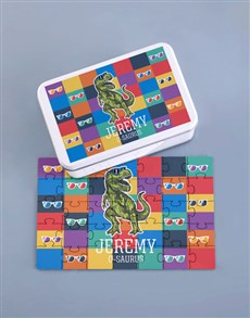 gifts: Personalised Dino Wood Puzzle Set!