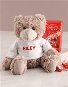 gifts: Personalised Teddy In Red And Lindt Hamper!