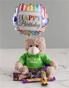 gifts: Personalised Embroider Birthday Teddy Hamper!