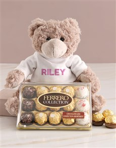 gifts: Personalised Embroider Teddy And Chocolate Hamper!