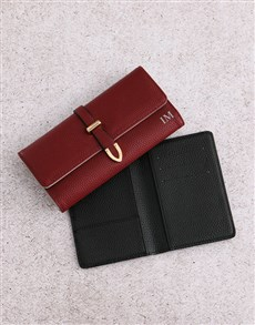 gifts: Personalised Burgundy Purse with Passport Holder!