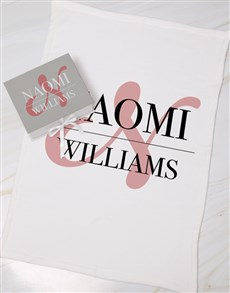 gifts: Personalised Red Initial Box With Blanket!