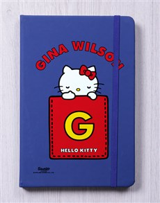 gifts: Personalised Kitty Initial Blue Notebook!