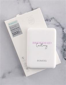 gifts: Personalised Bridesmaid Romoss Power Bank!
