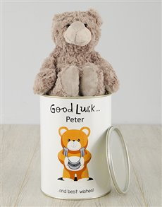 gifts: Personalised Good Luck Teddy Tin!