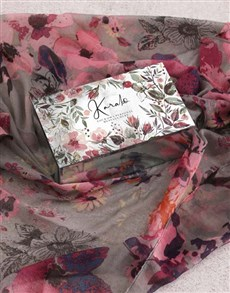 gifts: Personalised Grey Floral Scarf and Trinket Box!